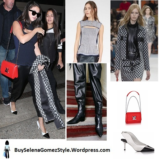 selena-gomez-blue slit-top-leather-pnats-black-and-white-shoes-coat-red-bag-Instagram