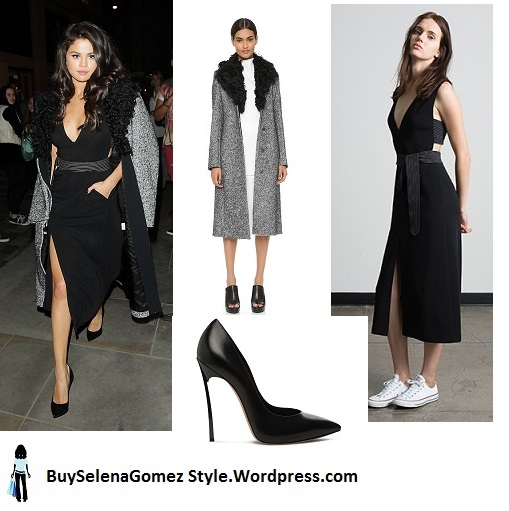 Selena Gomez grey coat fur collar black dress London instagram
