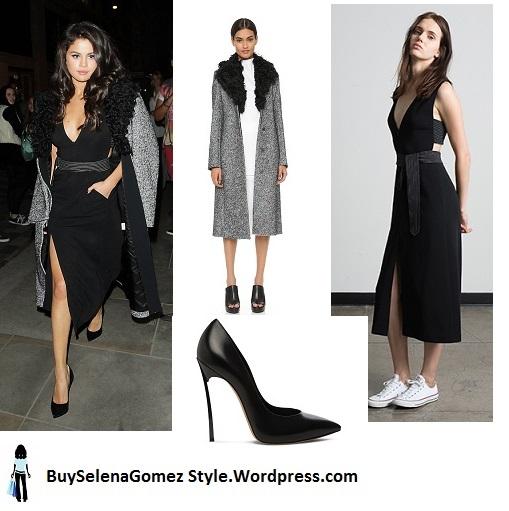 Selena Gomez grey coat fur collar black dress London instagram
