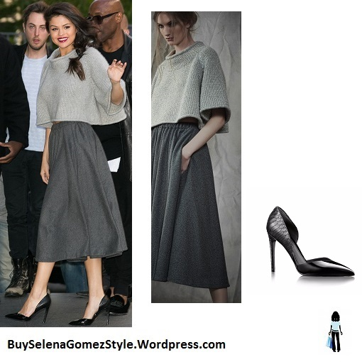Selena Gomez grey cropped knit sweater grey skirt Paris instagram