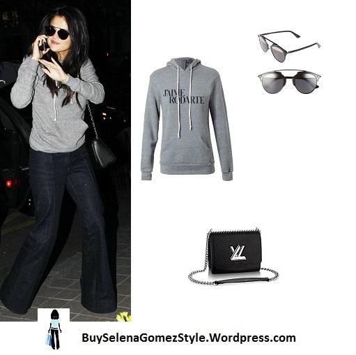 Selena Gomez grey hoodie jeans Paris instagram