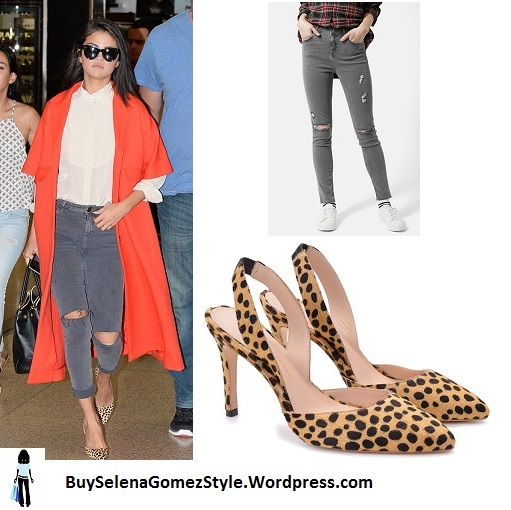 Selena Gomez orange coat leopard shoes Miami airport instagram