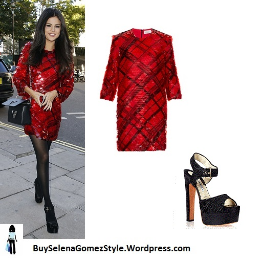 Selena Gomez red sequin dress London instagram
