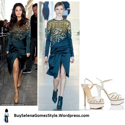Selena Gomez teal dress gold sandals BBc instagram