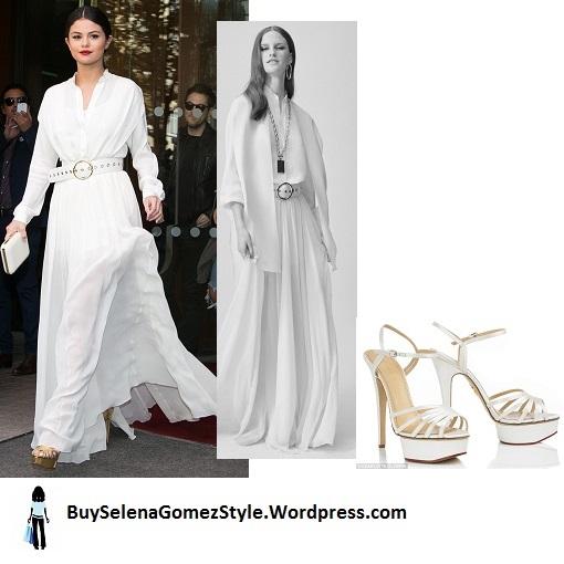 Selena gomez white maxi outfit Paris cropped