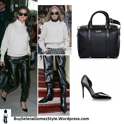 Selena Gomez white turtleneck black leather trosers black pumps Paris instagram