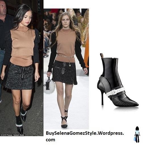 SSelena Gomez brown top black skirt black and white boots PAris instagram