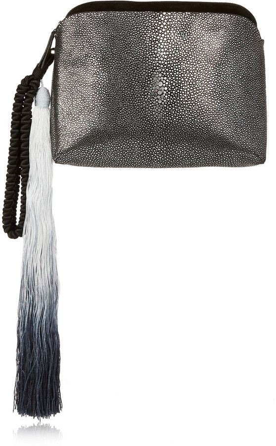 Wristlet tasseled suede-trimmed stingray clutch