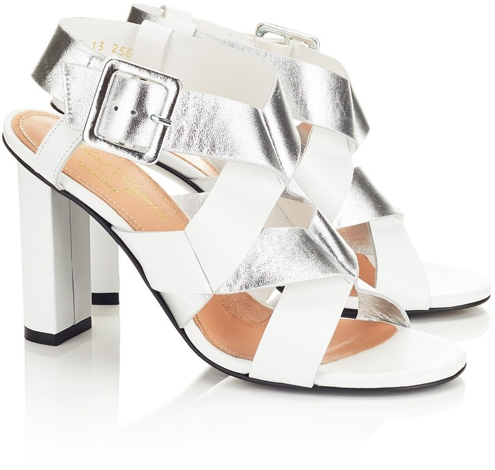 Robert Clergerie silver leather 'Lissia' heels
