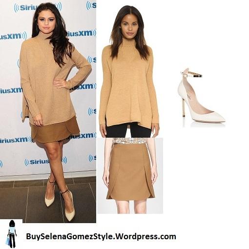 Selena Gomez beige sweater brown skirt Sirius radio Instagram