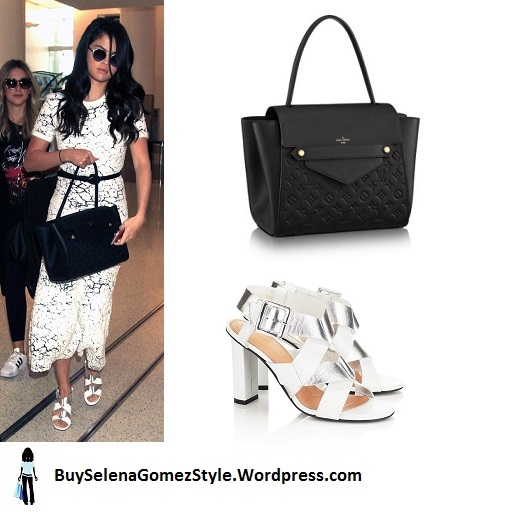 Selena Gomez black and white dress silver sandals instagram