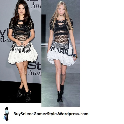 Selena Gomez black and white mesh dress InStyle Awards 2015 Instagram