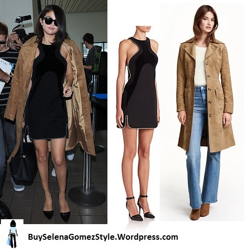 Selena Gomez black dress beige suede coat La Instagram