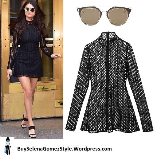 Selena Gomez black mesh lace dress NY instagram