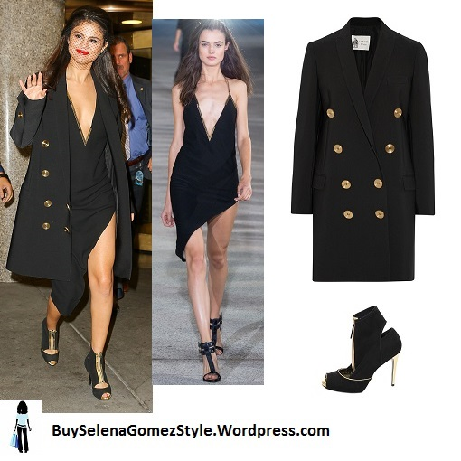 Selena Gomez black slit dress and coat veil hat black and gold boots instagram