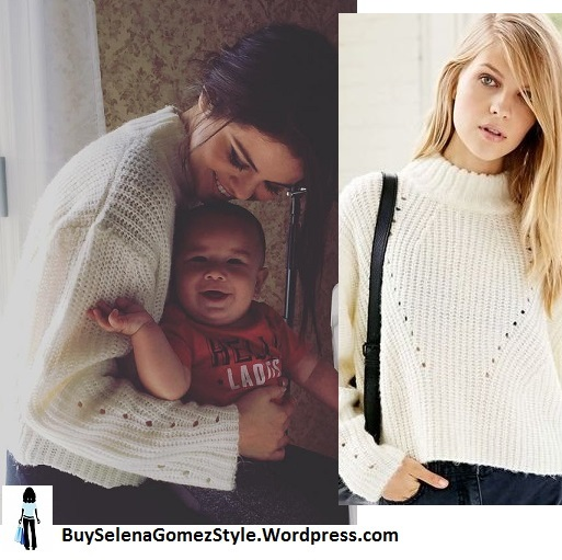 Selena Gomez white ribbed sweater godson baby instagram