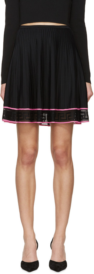 Versace Black Pleated Greek Key Skirt