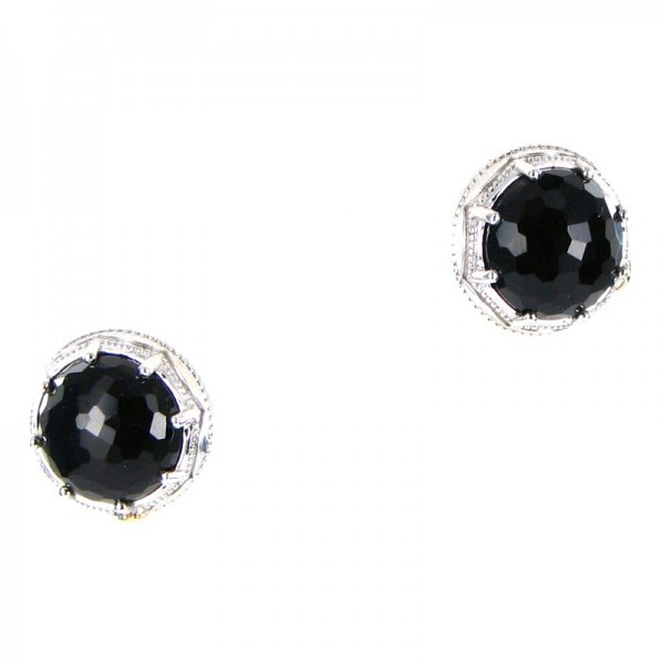 acori 18k 925 Black Onyx Round Gem Earrings