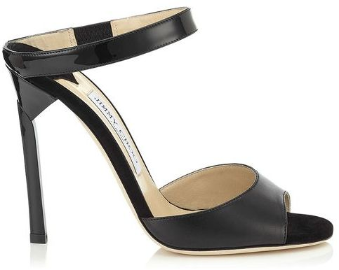 Jimmy Choo 'Deckle' Black Nappa Suede and Patent Sandals