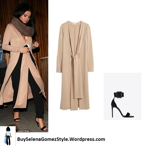selena-gomez-beige-coat-brown-scarf-black-trousers-the-nice-guy-instagram