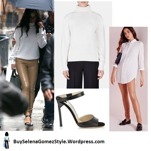 Selena Gomez beige pants white turtleneck victorias secret instagram