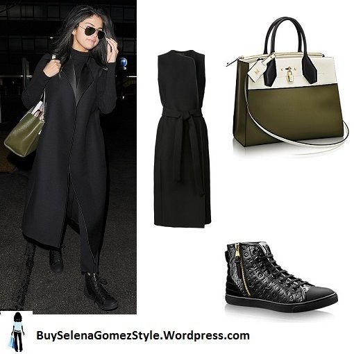 Selena Gomez black coats black boots Heathrow instagram