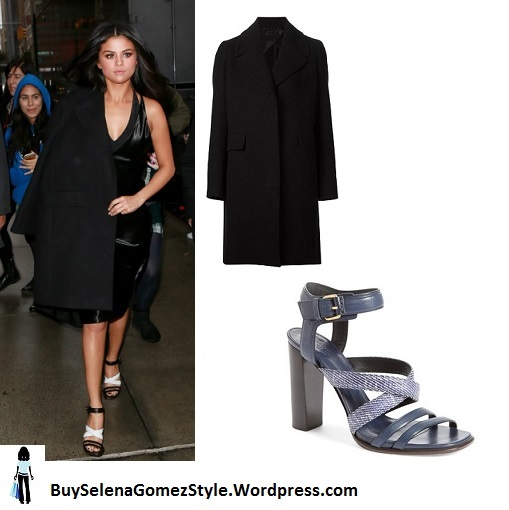 Selena Gomez black dress coat black and white sandals instagram