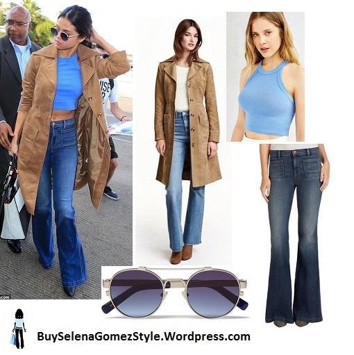Selena Gomez blue top jeans beige suede jacket LAX instagram