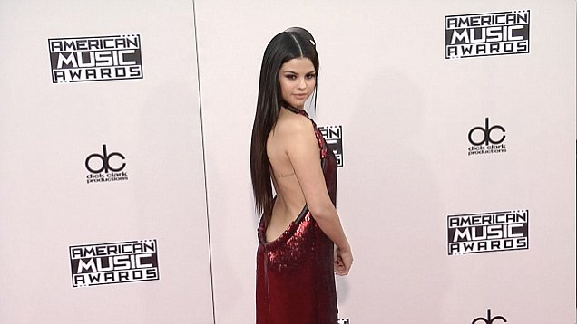 Selena Gomez red dress AMa 2015 Daily Mail