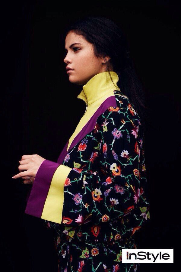 Selena gomez yellow and purple floral photo Instyle