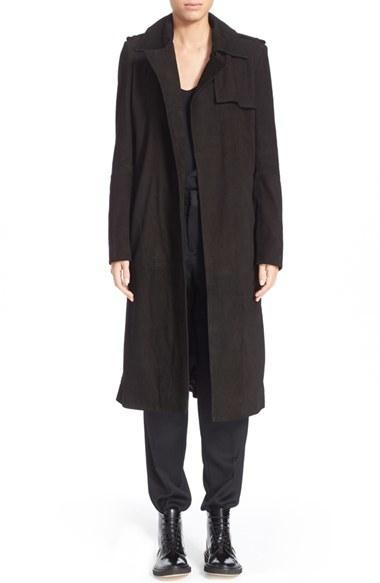 ANTHONY VACCARELLO SUEDE TRENCH COAT