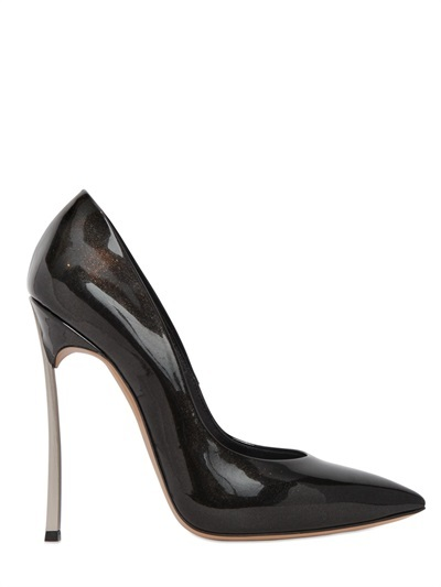 Casadei 120mm Blade Glittered Patent Pumps