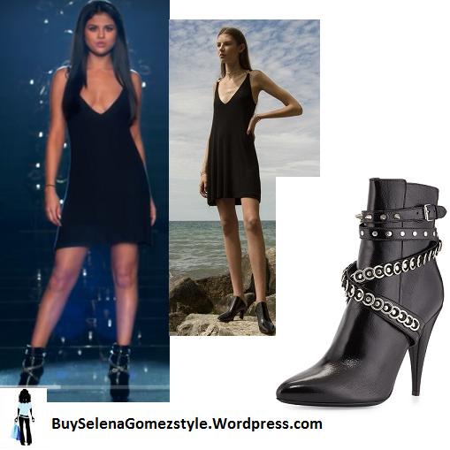 7037eb9f846 Saint Laurent Chain Wrapped Tumbled Leather Boots – Selena Gomez ...