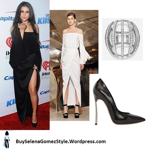 selena-gomez-black-off-the-shoulder-dress-jingle-ball-staples-center-instagram