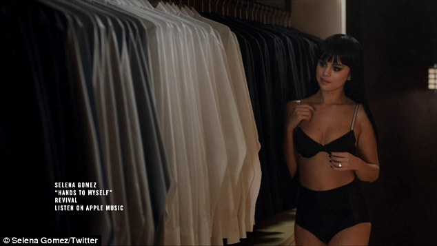 Selena Gomez hands to myself bra and shorts photo Selena Gomez Twitter