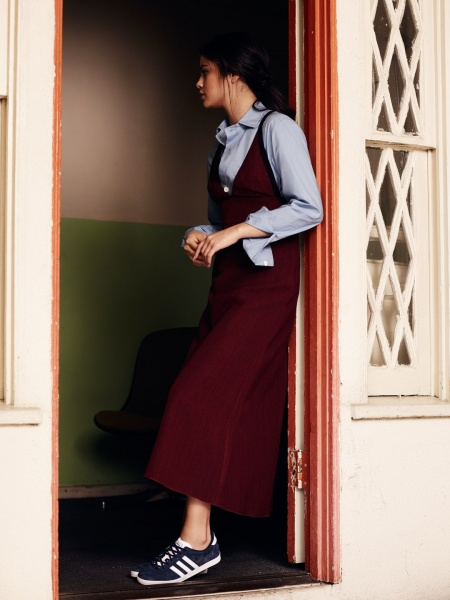 Selena Gomez maroon dress blue shirt blue trainers InStyle.