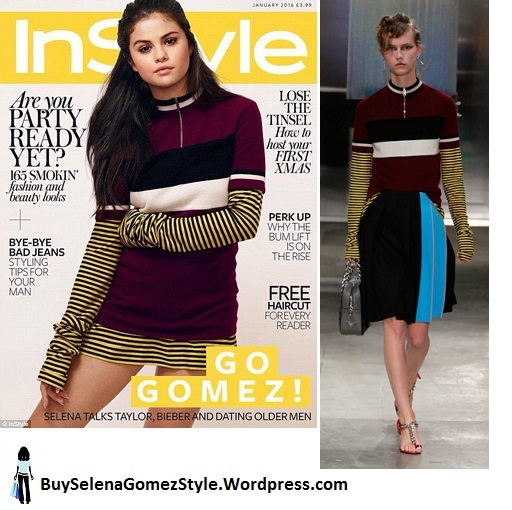 selena-gomez-purple-black-and-wehite-dress-instyle-january-2016 instagram