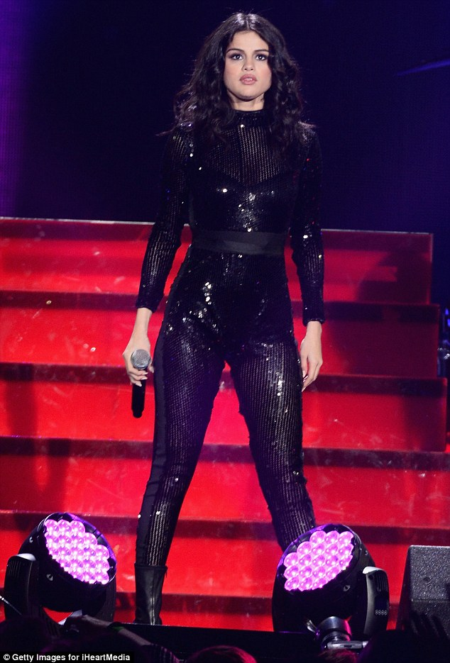 Selena Gomez sequin catsuit Jingle Ball chicago photo Getty Images for iHeartMedia