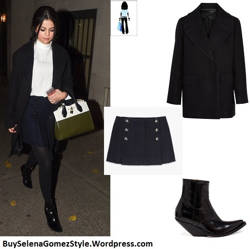 selena-gomez-white-turtleneck-black-coat-navy-pleated-skirt-ny-instagram