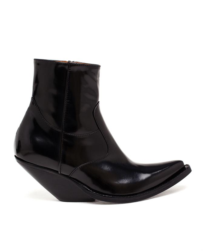 Vetements Slanted Heel Cowboy Ankle Boots