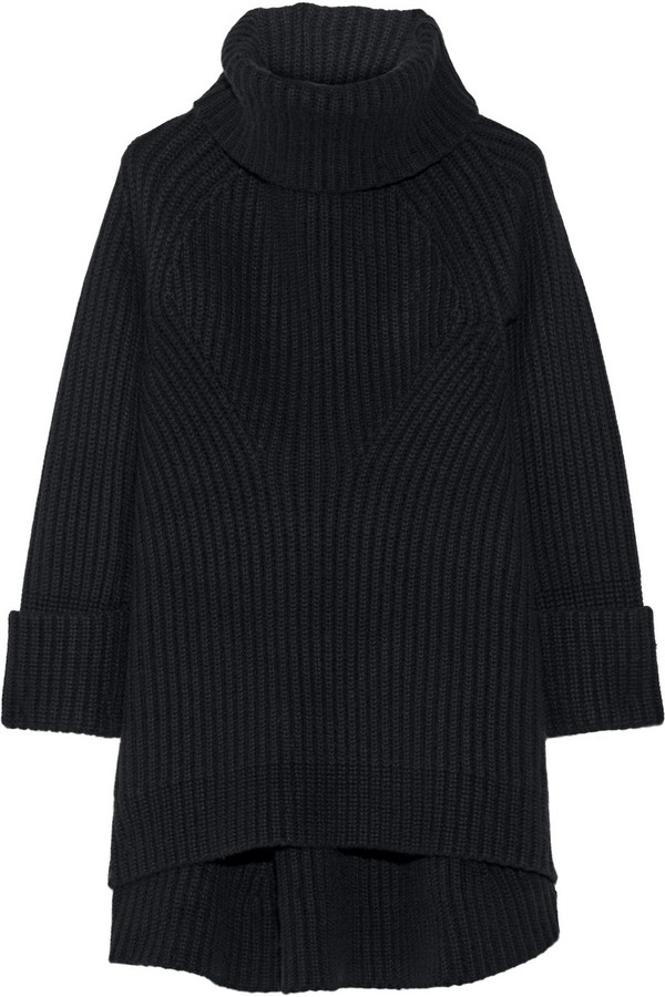 Co Ribbed Wool and Cashmere Blend Turtleneck Sweater