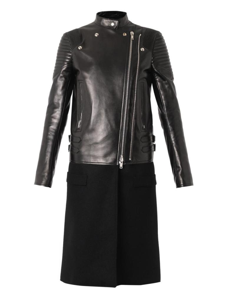 Givenchy Leather and Wool Biker Coat