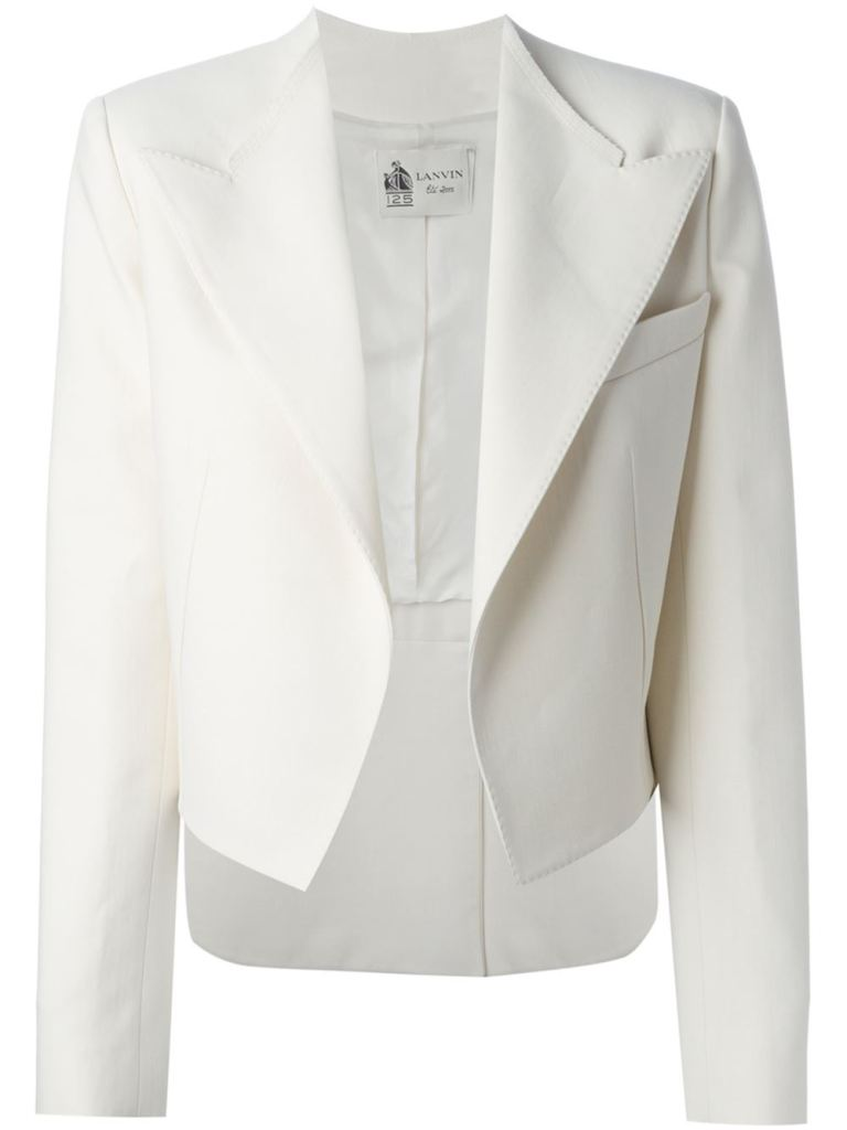 Lanvin off white silk blend cropped blazer