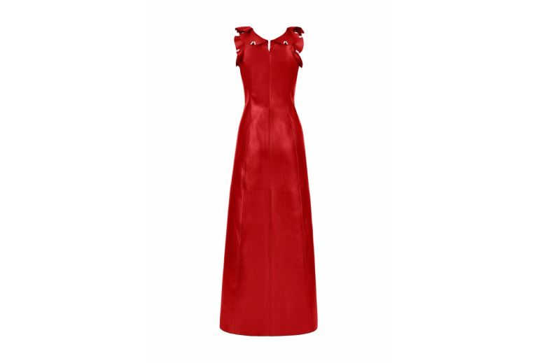 Louis vuiiton red lambskin dress back