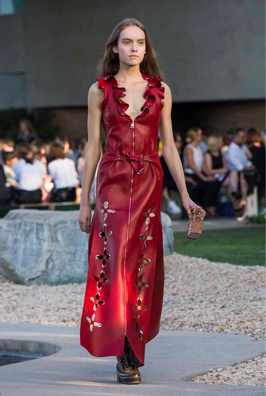 Louis vuiiton red leather dress Cruise 2016