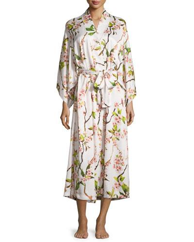 Natori Blossom long robe petal pink