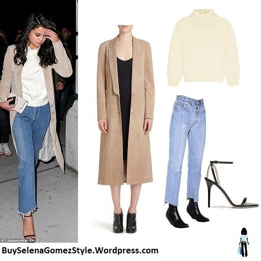 Selena Gomez beige suede coat white turtleneck rayed jeans photoT Jackson AKM-GSI