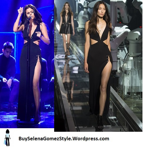 Selena-Gomez-black cut out gown SNL-performance-2016 instagram