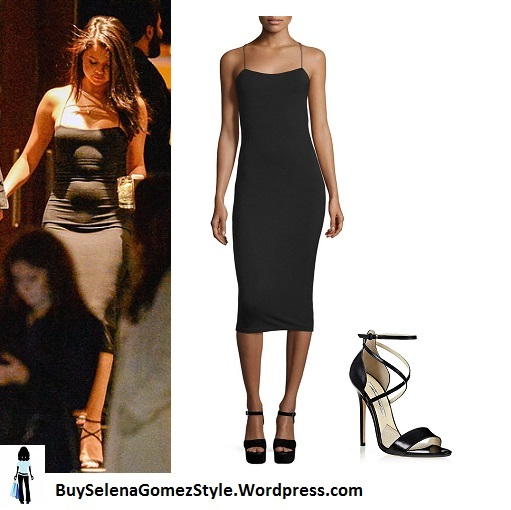 selena-gomez-black strappy sdress and sandals instagram