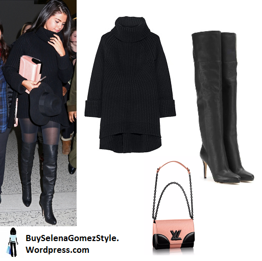 Selena gomez black turtleneck sweater  over the knee boots pink bag black hat instagram